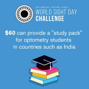 "$60 can provide a ""study pack"" for optometry students in countries such as India"